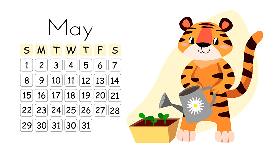 Horizontal desktop children's calendar design for May 2022, the year of the Tiger in the Chinese calendar.