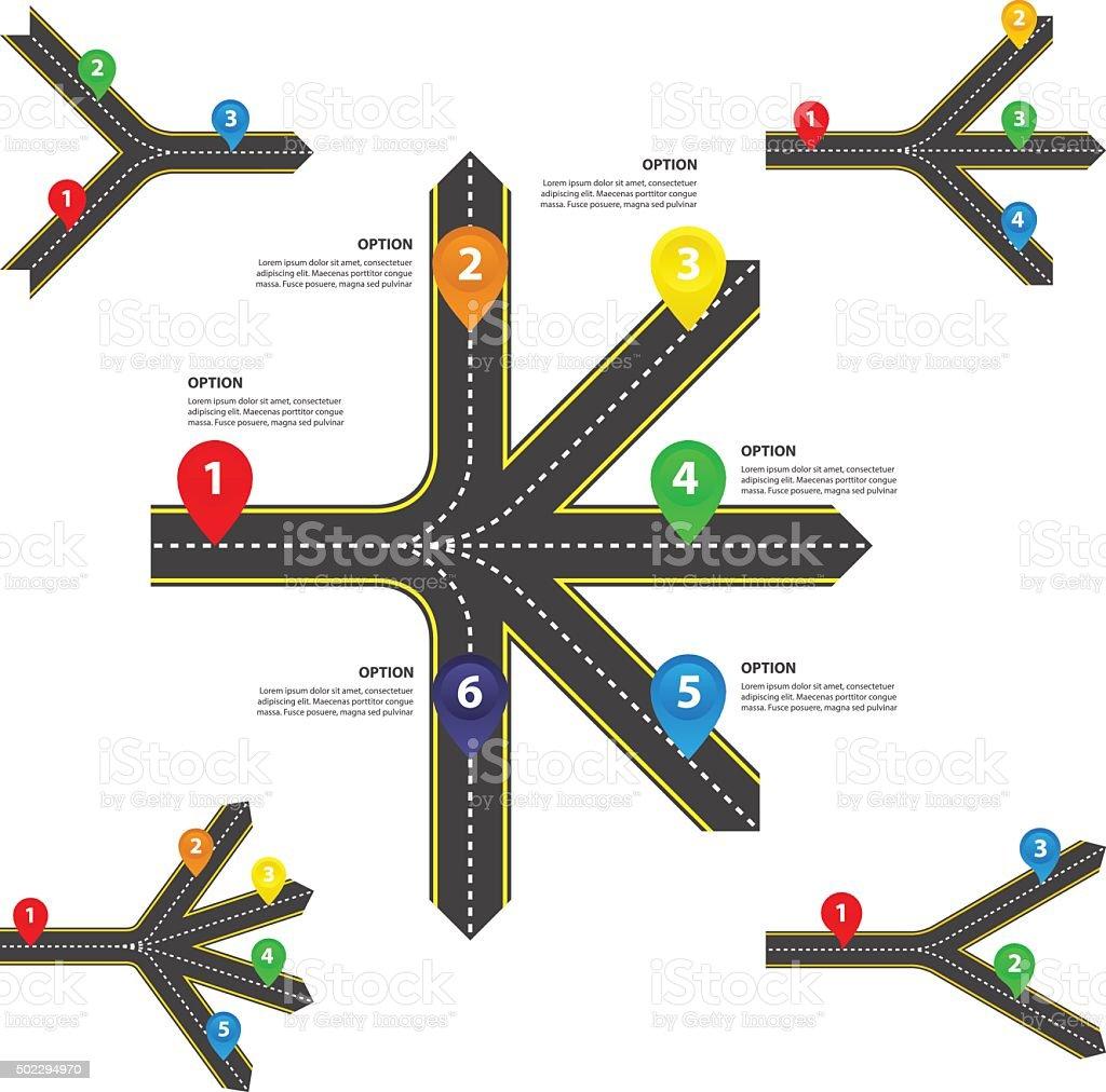 Horizontal Diverging and converging roads Set - Vector infographics vector art illustration