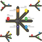Horizontal Diverging and converging roads Set - Vector infographics