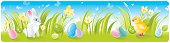 Horizontal high detailed Easter banner with chick, bunny, easter eggs and spring flowers. CDR-11, AI CS, JPG, EPS-8 are available.
