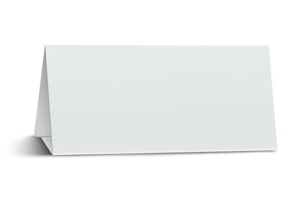 Horizontal elongate, oblong blank paper table card isolated on white background Horizontal elongate, oblong blank paper table card isolated on white background cartable stock illustrations
