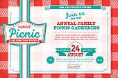 istock Horizontal Family picnic celebration invitation design template with tablecloth 482835943