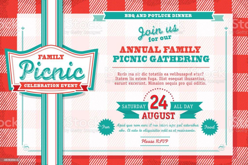 水平家族でのピクニックのウェディング招待状のデザインテンプレート、テーブルクロス ベクターアートイラスト