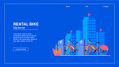 Horizontal Flat Banner. Bike Rental City Service. Vector Illustration Bicycle Rental on Blue Background. Two Red Travel Bicycles Stand on Street against Backdrop  Trendy Urban Landscape.