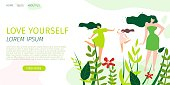 Horizontal Flat Banner Love Yourself and World. Vector Illustration on White Background. Three Young Beautiful Girls Demonstrate Fashionable Clothes in Colorful Clearing in Forest.