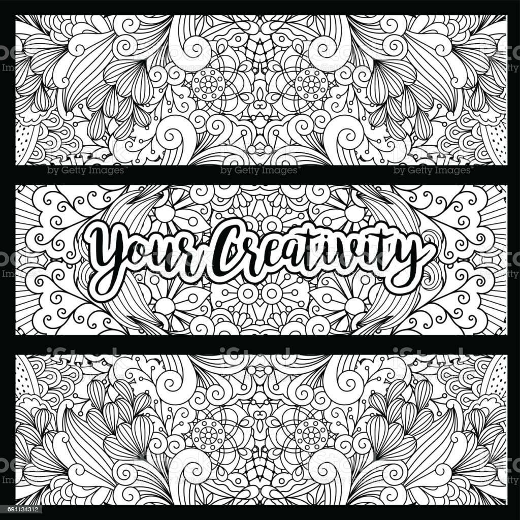 Horizontal flyers with floral pattern vector art illustration