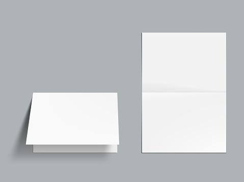 3D Horizontal Fold Blank White Brochure Template