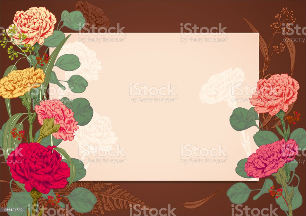 Horizontal frame card for congratulations or invitation carnation horizontal frame card for congratulations or invitation carnation red pink yellow mightylinksfo