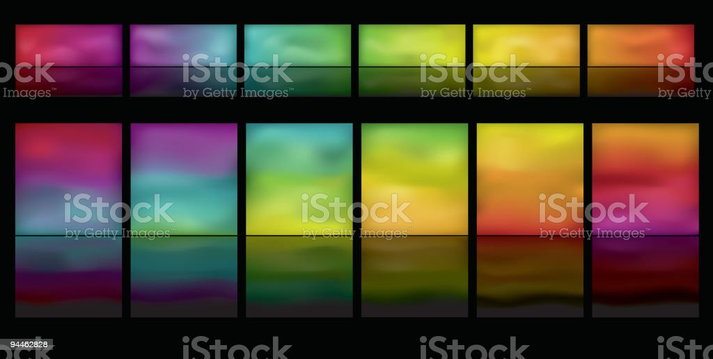 Horizontal glowing buttons with reflection royalty-free horizontal glowing buttons with reflection stock vector art & more images of blank