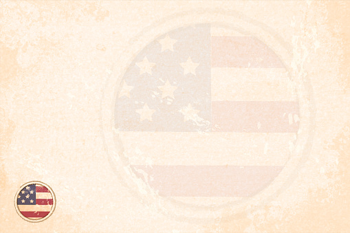 Horizontal grunge effect faded beige coloured vector illustration with a small circular badge of USA flag and a watermark of the flag as well