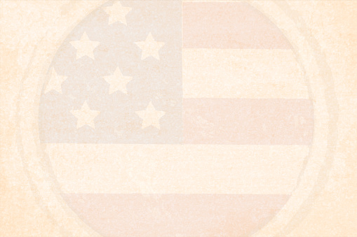 Horizontal grunge effect faded beige coloured vector illustration with a watermark of circular badge of USA flag