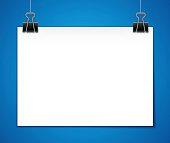 Horizontal hanging paper template with space for your copy. EPS 10 file. Transparency effects used on highlight elements.