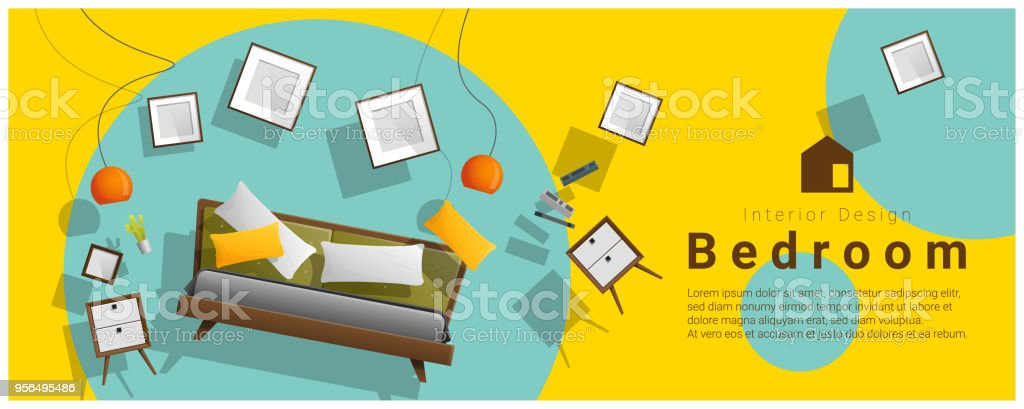 colorful furniture for sale. Horizontal Interior Banner Sale With Bedroom Furniture Hovering On Colorful  Background , Vector Illustration Royalty For T