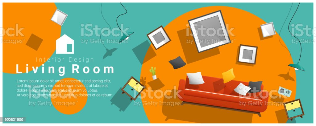 Horizontal interior banner sale with living room furniture hovering on colorful background , vector , illustration vector art illustration