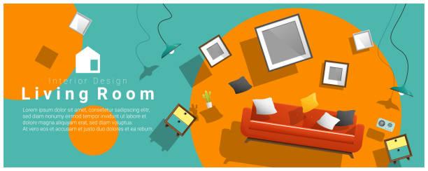 ilustrações, clipart, desenhos animados e ícones de venda de banner horizontal interior com mobiliário de sala de estar pairando sobre fundo colorido, vetorial, ilustração - casa nova