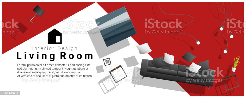 furniture sale banner. Horizontal Interior Banner Sale With Living Room Furniture Hovering On  Colorful Background , Vector Illustration