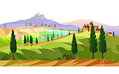 European rural view with trees, field and small villa. Autumn stock scenery in flat style.