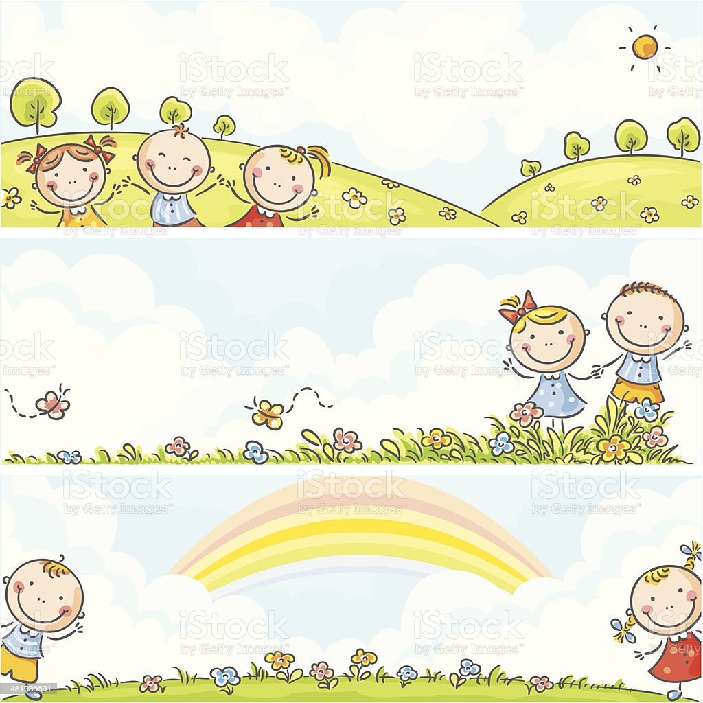 Horizontal kids banners royalty-free horizontal kids banners stock vector art & more images of backgrounds