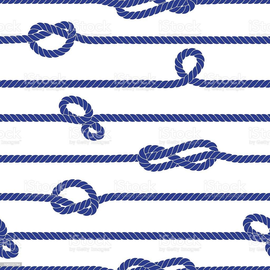 Horizontal marine rope with knots seamless vector print vector art illustration