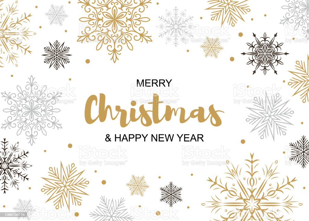 Horizontal Merry Christmas And Happy New Year Greeting Card