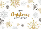 Horizontal Merry Christmas and Happy New Year greeting card with beautiful golden and black snowflakes. Christmas design for banners, posters, massages, announcements. Space for text