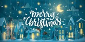 Horizontal Merry Christmas Card for winter holiday. Night time with snowfall