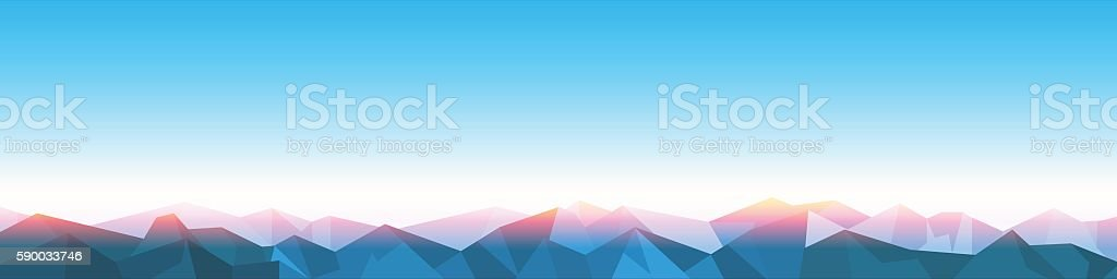 Horizontal Panorama of stylized paper Mountains on Sunrise vector art illustration
