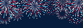 Horizontal panoramic banner with fireworks for Independence day design