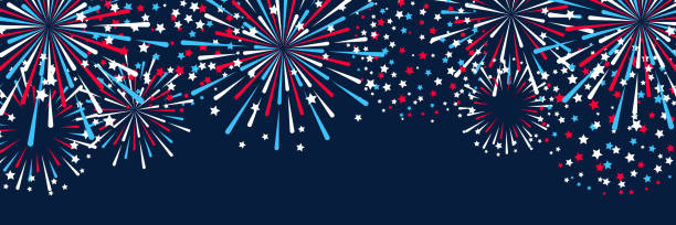 Horizontal panoramic banner with fireworks for Independence day design Horizontal panoramic banner with fireworks for Independence day design firework display stock illustrations