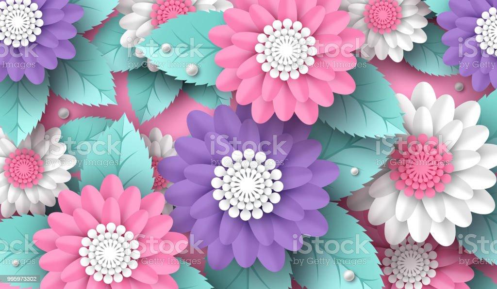 Yatay kağıdı 3d çiçek arka plan pembe, beyaz ve mor renklerde kesin. Metin için yer. Dekoratif elemanlar tatil tasarımı, vektör çizim için. vektör sanat illüstrasyonu