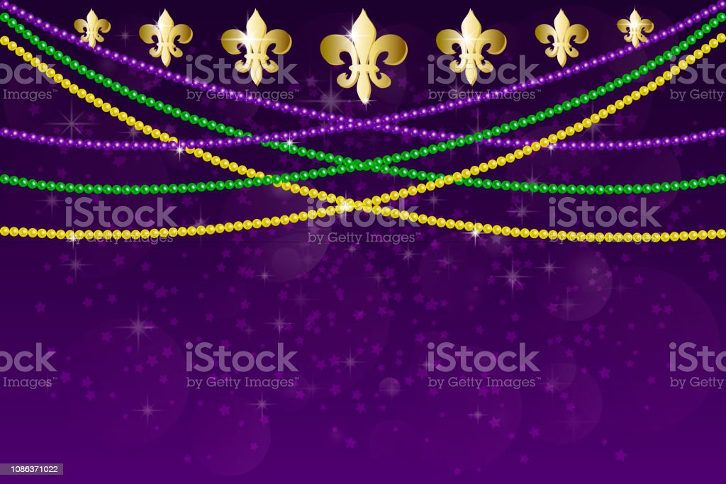 Horizontal pattern beautiful yellow, green, purple beads on a dark night background with flashes of light. Mardi Gras Party. Venetian carnival mardi gras party. Vector Design with carnival symbol vector art illustration