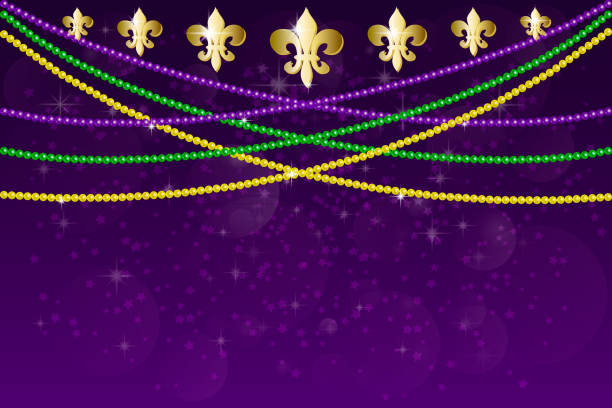 Horizontal pattern beautiful yellow, green, purple beads on a dark night background with flashes of light. Mardi Gras Party. Venetian carnival mardi gras party. Vector Design with carnival symbol Horizontal pattern beautiful yellow, green, purple beads on a dark night background with flashes of light. Mardi Gras Party. Venetian carnival mardi gras party.  Vector Design with carnival symbol mardi gras stock illustrations