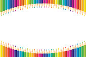 Horizontal pattern. Set of isolated colored pencils arranged arc with copy space for note, text, on white background Rainbow colors. Bright print.