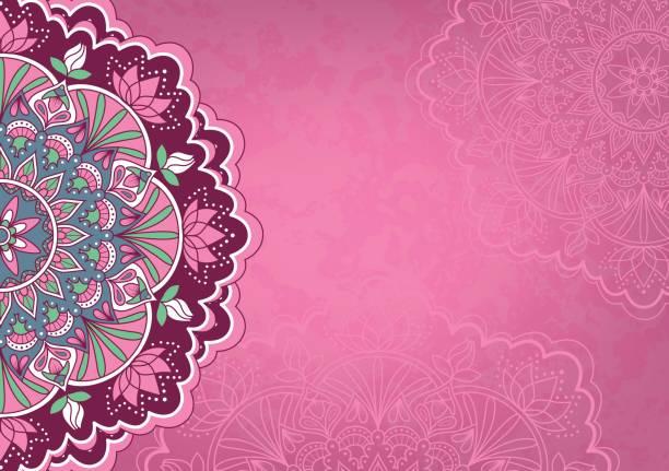 illustrations, cliparts, dessins animés et icônes de fond rose horizontale avec couleur mandala - fond couleur uni