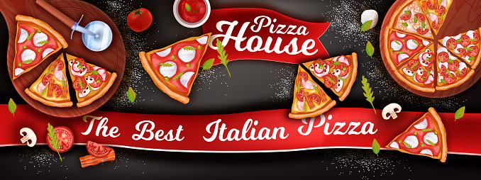 Horizontal pizza banner with mozzarella, slices, ketchup, tomato, mushrooms.