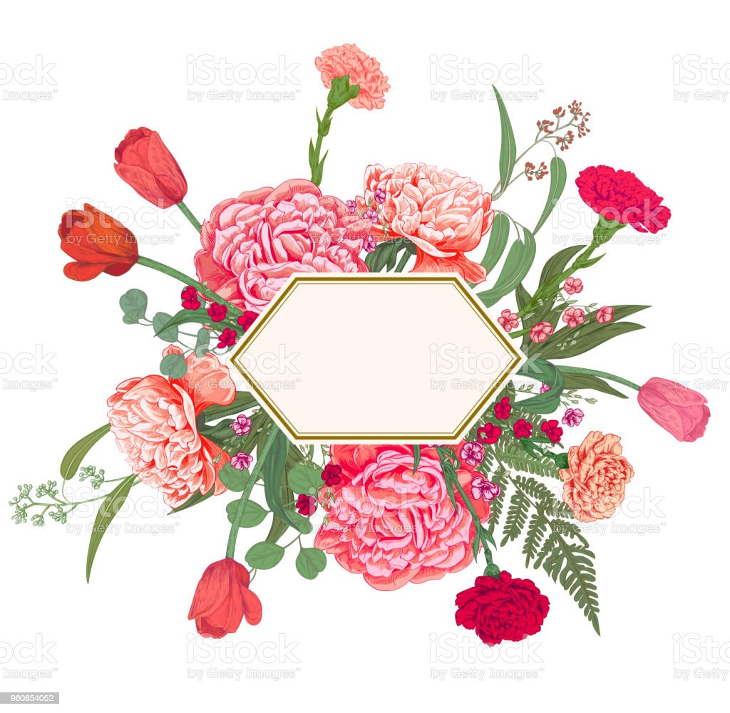 Horizontal Polygon Card With Bouquet Of Red Pink Flowers And