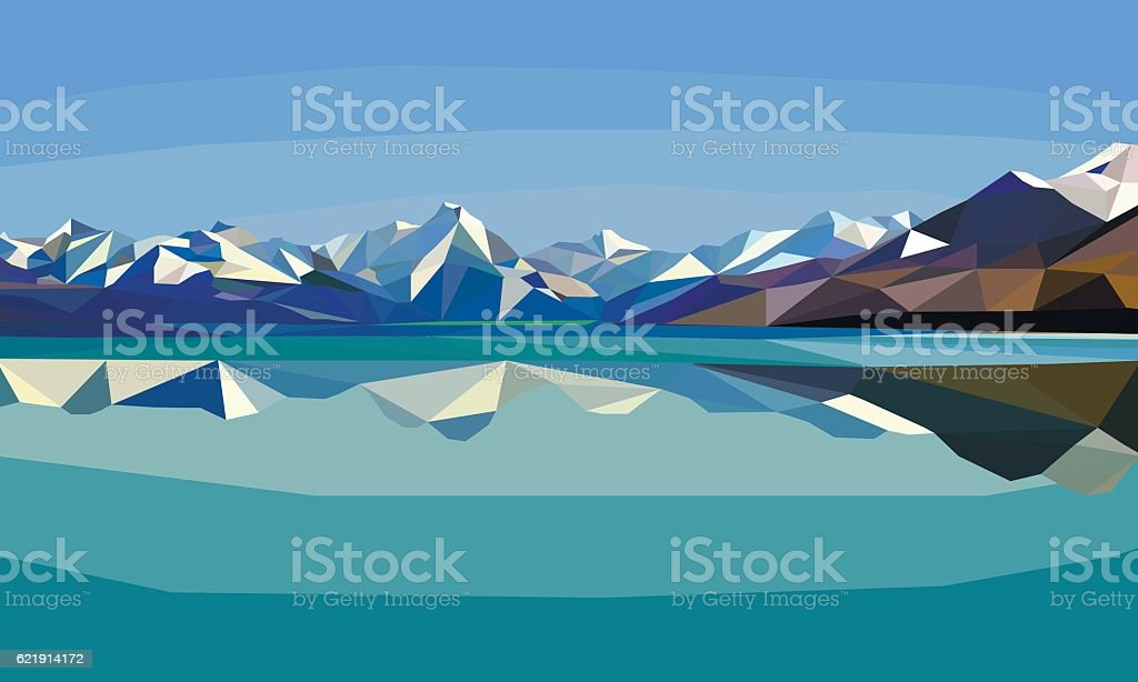 Horizontal polygon landscape.snow mountains and lake. vector art illustration