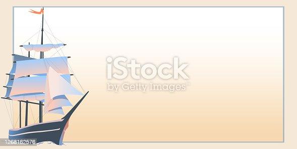 istock Horizontal postcard with retro sailing ship 1268162576