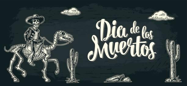 Horizontal poster for Day of the Dead. Dia de los Muertos lettering. vector art illustration