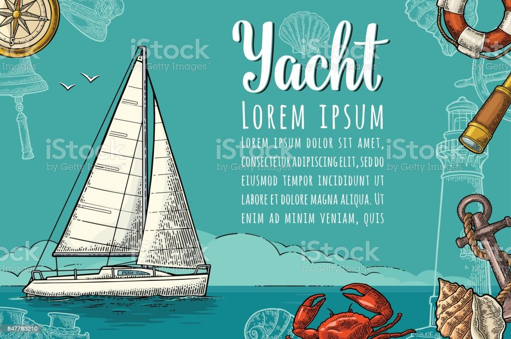 Horizontal poster for yacht club with text template. Vector engraving vector art illustration