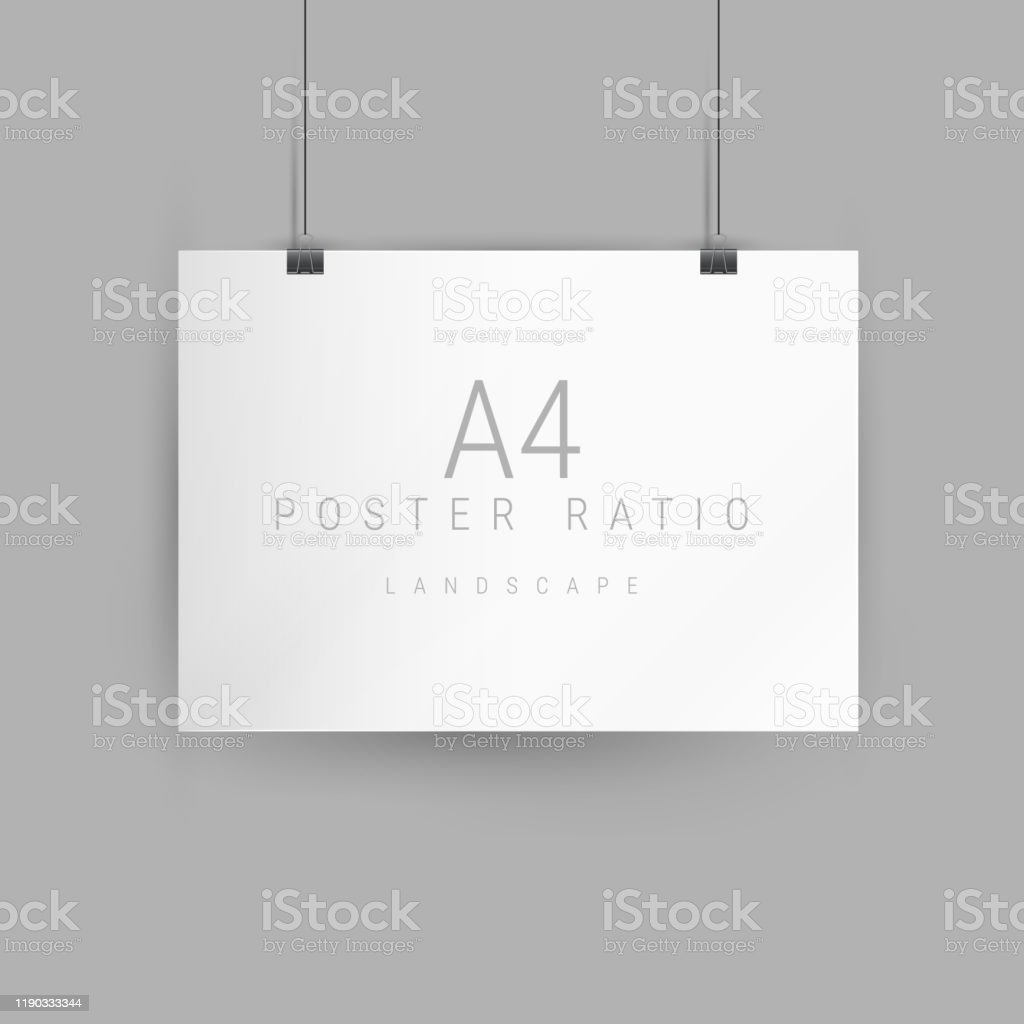 Horizontal Poster Mockup Empty A4 Sized Paper Frame Hanging With