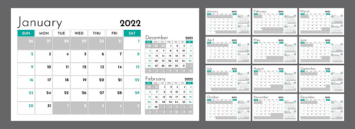 Horizontal quarterly calendar for 2022. Week starts on Sunday. A set of 12 calendar pages. Vector template.