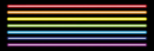 검정, 벡터 일러스트 레이 션에 수평 무지개 네온 튜브 라이트 - 형광 stock illustrations