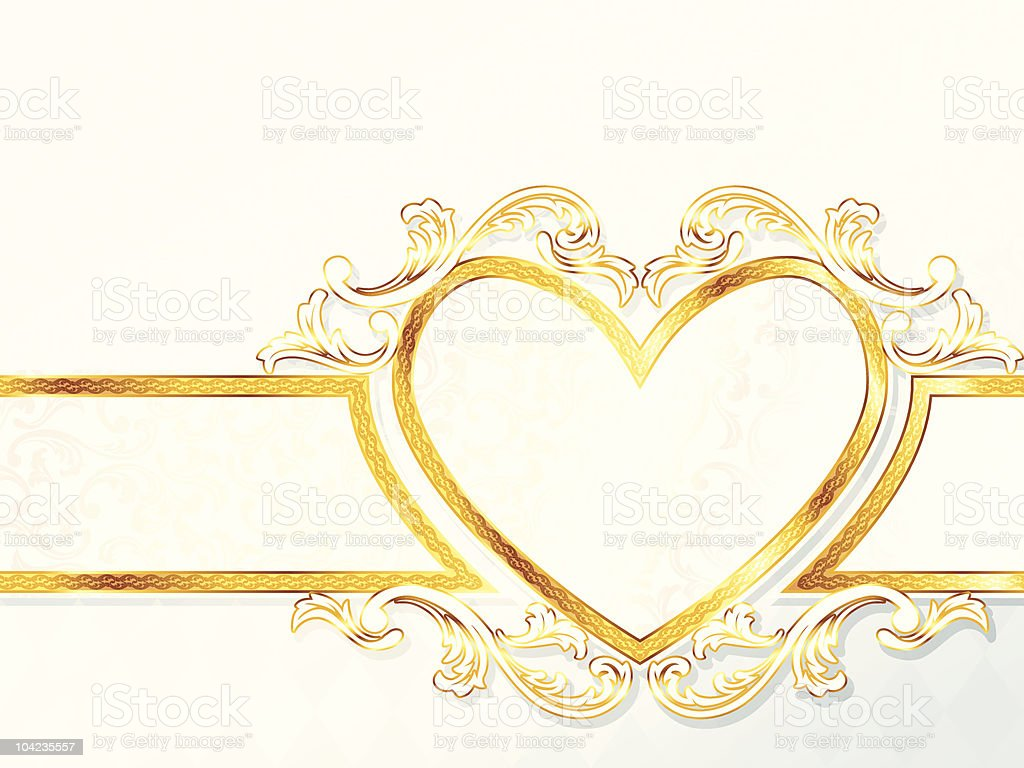 Horizontal rococo wedding banner with heart emblem royalty-free stock vector art