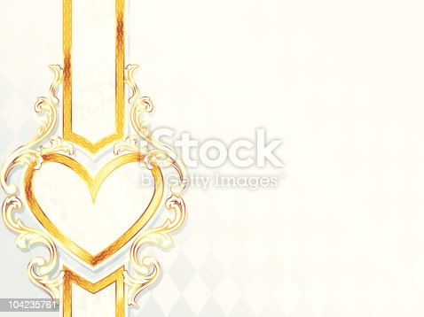 istock Horizontal rococo wedding banner with heart emblem 104235761