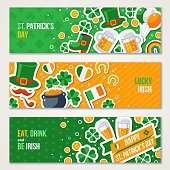 Horizontal Saint Patricks Day Banners Set with Irish Stickers Symbols in Flat Style. Vector Illustration. Ireland Icons. Patrick Day Celebration Concept. Four Leaves Clover. Leprechaun Hat, Pot Coins.