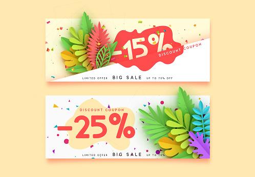Horizontal sale banner border. Discount coupon cards, headers website.