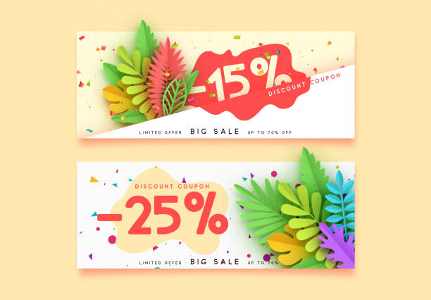 Horizontal sale banner border. Discount coupon cards, headers website. Horizontal sale banner border. Discount coupon cards, headers website. Vector design paper art. Price offer posters, flyers brochure. Design of tropical leaves of different colors in style paper art political party stock illustrations