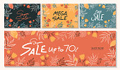 istock Horizontal sale banner template in various different colors. Floral elements background. Black, yellow, orange, blue. Supersale for social media cover, banner, ad, marketing... Vector illustration 1285391864