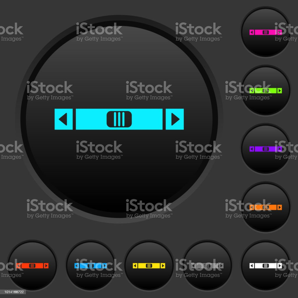 Horizontal Scroll Bar Dark Push Buttons With Color Icons